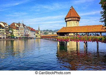 Wooden Chapel bridge in Lucerne old town, Switzerland