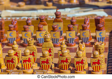 Wooden chess game background