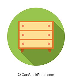 Wooden chest icon, flat style