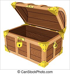 wooden chest - old outdoor wooden pirate chest isolated on...