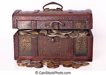 Wooden chest with coins inside