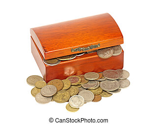 Wooden chest with different metal coins.