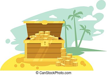 Wooden chest with golden coin