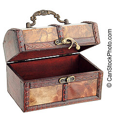 Wooden chest with hook lock open