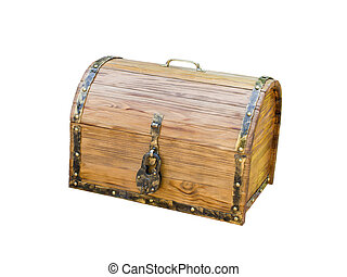 wooden chest with lock in antique style