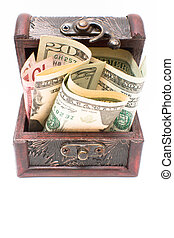Wooden chest with money on the whit