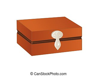 Wooden chest with silver trim and lock isolated on a white background. Vector illustration