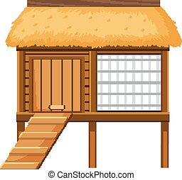Wooden chicken coop on white background