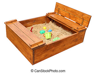 Wooden children?s sandbox with toys. Isolated on white background