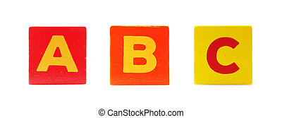 Wooden Children's Toy Alphabet Blocks On White Background