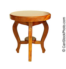 Wooden chinese round chair on white background.
