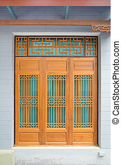 Wooden Chinese style window, door and wall,