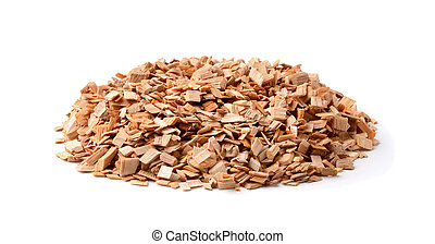 Wooden chips for smoking isolated on white