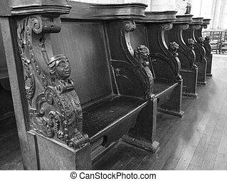 Wooden choir stalls a church in France