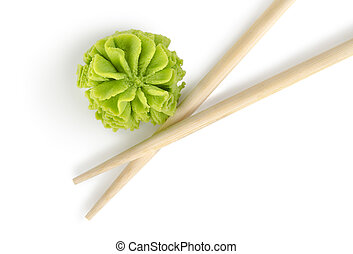 Wooden chopsticks and wasabi isolated on a white background