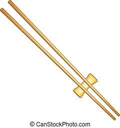Wooden chopsticks in light brown design on white background