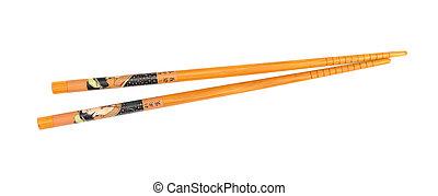 Wooden chopsticks on white background.