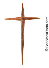 Wooden christian cross isolated