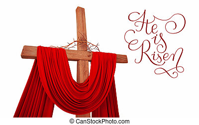 wooden christian cross with crown of thorns and letters He is risen