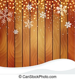 Wooden Christmas background with a snowfall