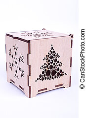Wooden Christmas box on white background