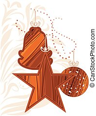 Wooden Christmas toys. Vector illustration