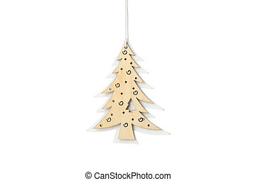 Wooden Christmas tree isolated on white background. Decoration
