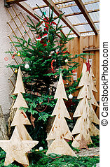 Wooden Christmas tree ready for holidays
