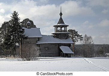 Wooden church in Karelia.