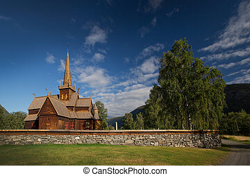 Wooden church in Lom, Norway