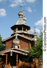 Wooden church in Moscow Russia