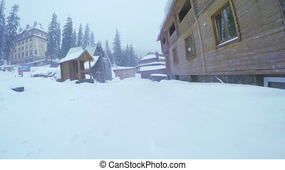 Wooden church in ski resort