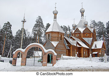 Wooden church in the forest