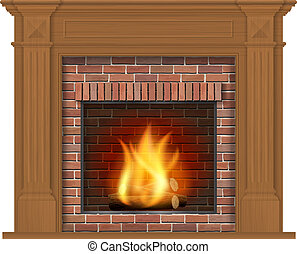 Wooden classic fireplace with wooden decor