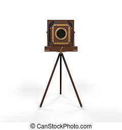 Wooden Classic Retro Camera isolated on white background. 3D...