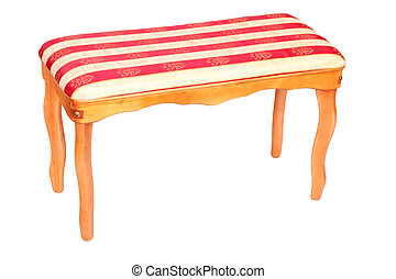wooden classic stool with striped upholstery isolated on white background