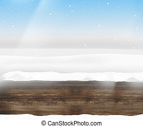 Wooden clean winter landscape and blue sky background design