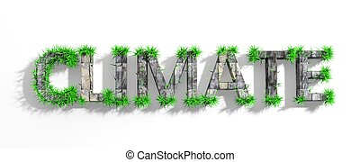Wooden Climate word with green grass growth isolated