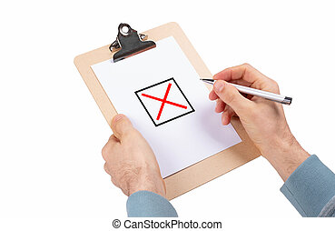 Wooden clipboard isolated on white background - Brainstorm session
