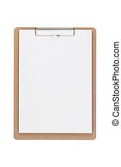 Wooden clipboard isolated on white background, Clipping paths included.