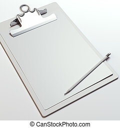 Wooden clipboard with blank sheet