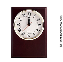 Wooden clock isolated on a white background