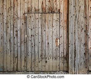 Wooden closed door
