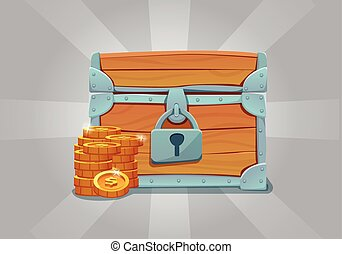 Wooden closed old treasure chest with gold coins.