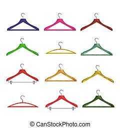 Wooden Clothes Hangers Vector.