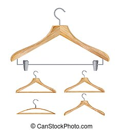 Wooden Clothes Hangers Vector. Illustration Of Classic Clothes Hanger Isolated On White Background.