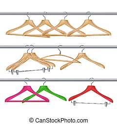 Wooden Clothes Hangers Vector. Realistic Coat Hangers On A Clothes Tube Rail.