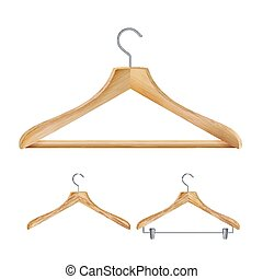 Wooden Clothes Hangers Vector. Set For Jackets Pants. Isolated 3d Realistic Illustration