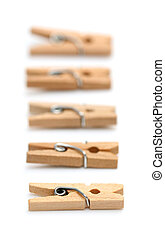 Wooden Clothes Pins isolated on a white background