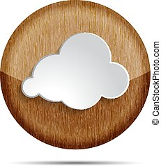 wooden cloud icon on a white background